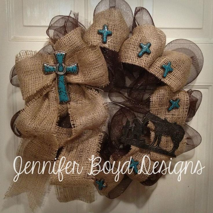 Turquoise burlap and mesh wreath by Jennifer Boyd Designs.  Find me on Facebook: www.facebook.com/JenniferBoydDesigns