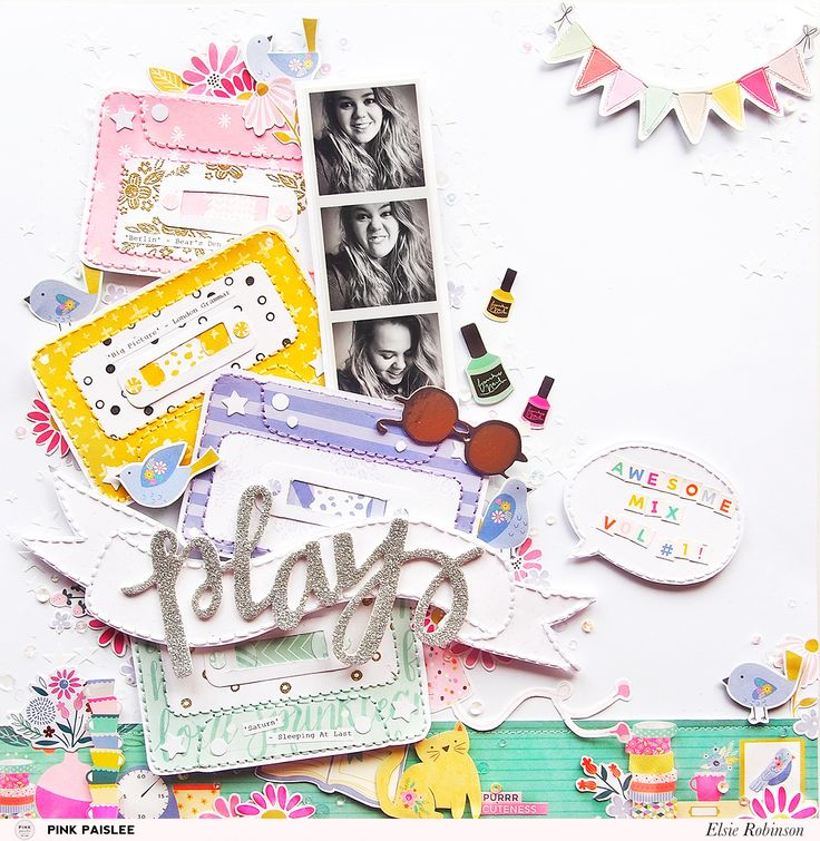 Join @heyelsie on the @pinkpaislee blog today to see how you can use the Oh My Heart stamp set to create your own patterned papers! #pinkpaislee #ppOhMyHeart #stamping #12x12layout #scrapbooking #scrapbooklayout #diy