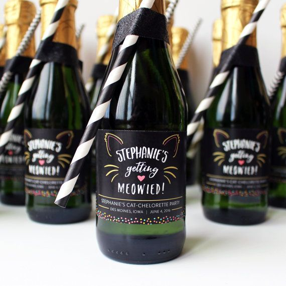 Personalized Getting Meowied Mini Champagne and Wine Labels. Perfect for Cat Bachelorettes and Engagement gifts for all your favorite cat ladies out there!  Labels by GardeniaLabels