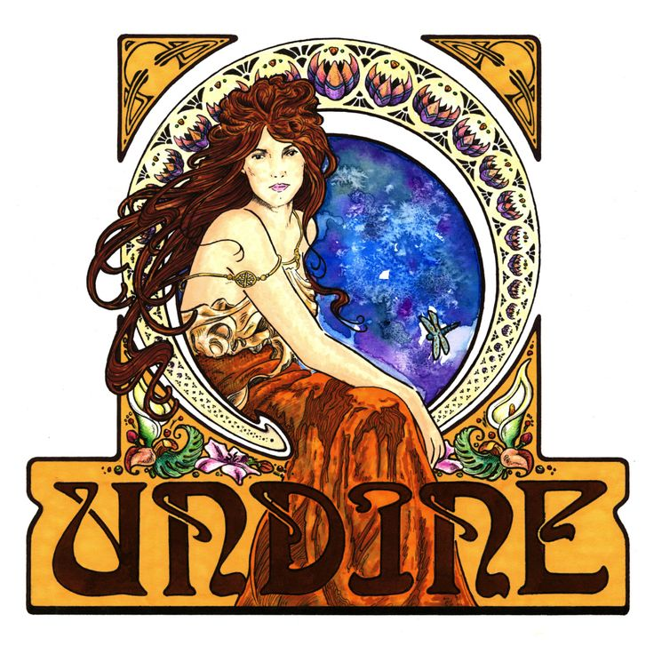 by Vernon Fourie | illo illustration drawing pen and ink watercolour markers gouache mixed media undine art nouveau halo, Illustrative Logo Design, Corporate ID, inspired by alphonse mucha