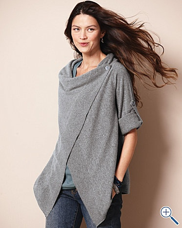 a Side-Button Draped Cardigan