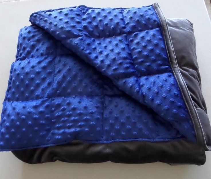 Adult Weighted Blanket Gravity Hug Charcoal Grey Velveteen Blue Minky Softy Dot ~ Choose Weight