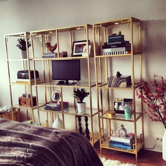 Greek Key Golden Vittsjo - IKEA Hackers  Spray painted, with kitchen cabinet handles in the corners to make Greek keys!