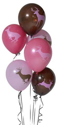 6-pack of buck printed 12 inch latex balloons. Comes in assorted pink and brown with deer images printed on both sides of the balloons.