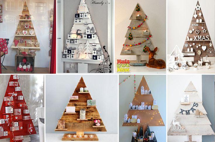 alberi di Natale in legno con mensole