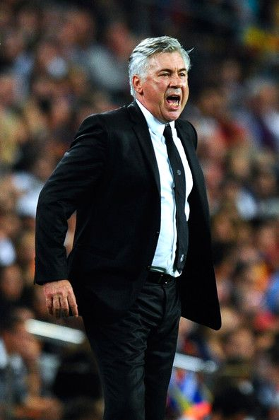 Head Coach Carlo Ancelotti of Real Madrid CF reacts during the La Liga match between FC Barcelona and Real Madrid CF at Camp Nou on October 26, 2013 in Barcelona, Catalonia.