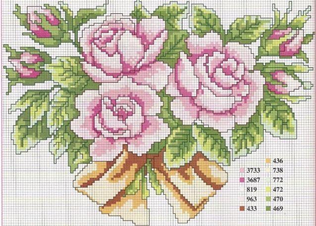 Схемы Вышивки Крестом Цветы 205377оригинал