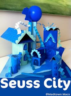 How to make a Dr. Suess inspired City.  What a great idea! @Stacy Mahan. Reminds me of your playground.