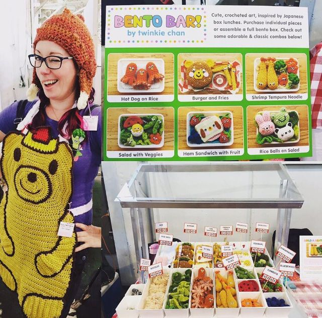 """Last weekend, I vended at Renegade Craft Fair with my new """"Bento Bar"""" set-up, where people could assemble their own cute, crocheted bento boxes! This was a grand experiment, since I&#82…"""