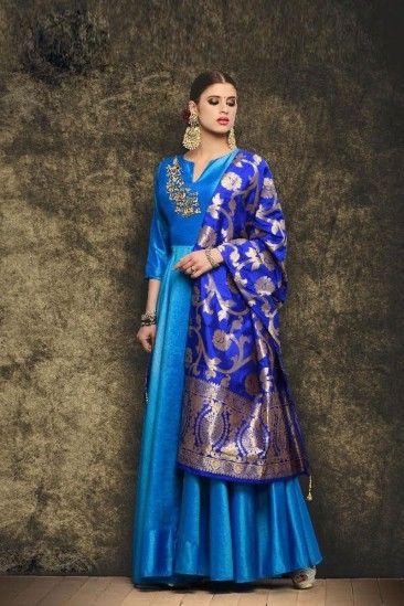 e177a3edc9 Gorgeous Sky Blue Silk Anarkali Suit With Dupatta - DMV15050  #Bluecolordresses #BlueAnarkalisuits #Bluedresses