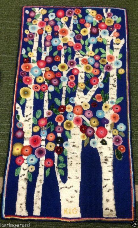 Tapete Gancho Craft Papel Padrão Blooming arte primitiva folclórica Birches Karla Gerard