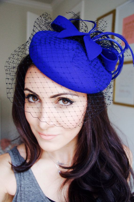 Wool Winter Hat - Cobalt Blue Wool Fascinator with Black Birdcage & Cobalt Blue Feathers