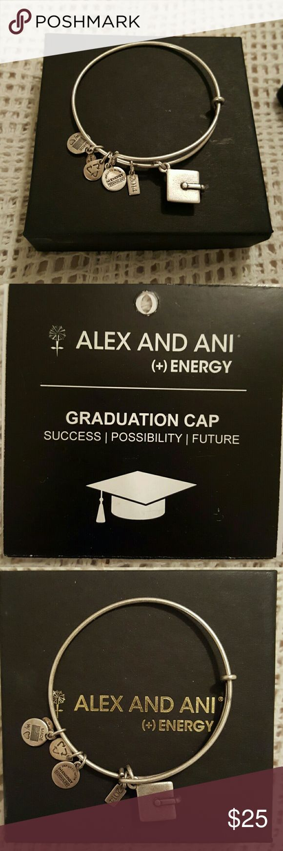 Alex & Ani Silver Graduation Bangle This has been worn a few times there are very little signs of wear and is almost like new. Comes with box and care instructions. Alex & Ani Jewelry Bracelets