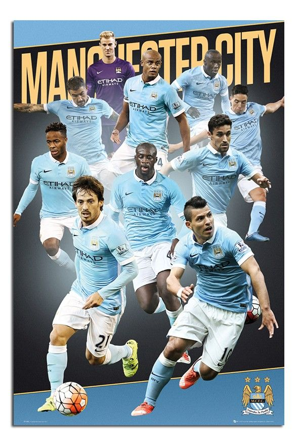 Manchester City Players 2015/16 Season Poster