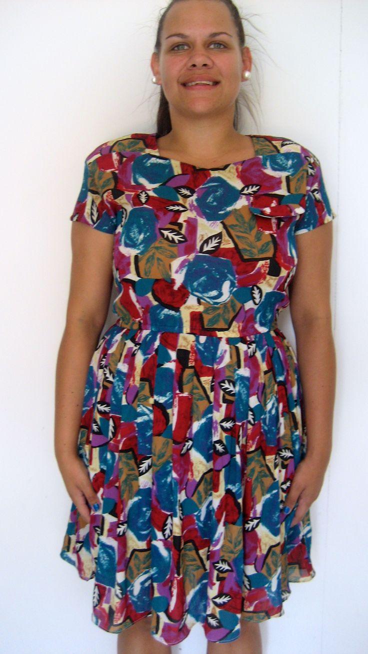Leave print vintage dress.