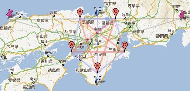 息長一族と言えば、鉱山群を支配した古代豪族です。奈良の都を中心に一緯度の長さで描かれた五角形は、地球を正二十面体として三角測量する技術が7世紀頃の日本に存在したことを意味します。