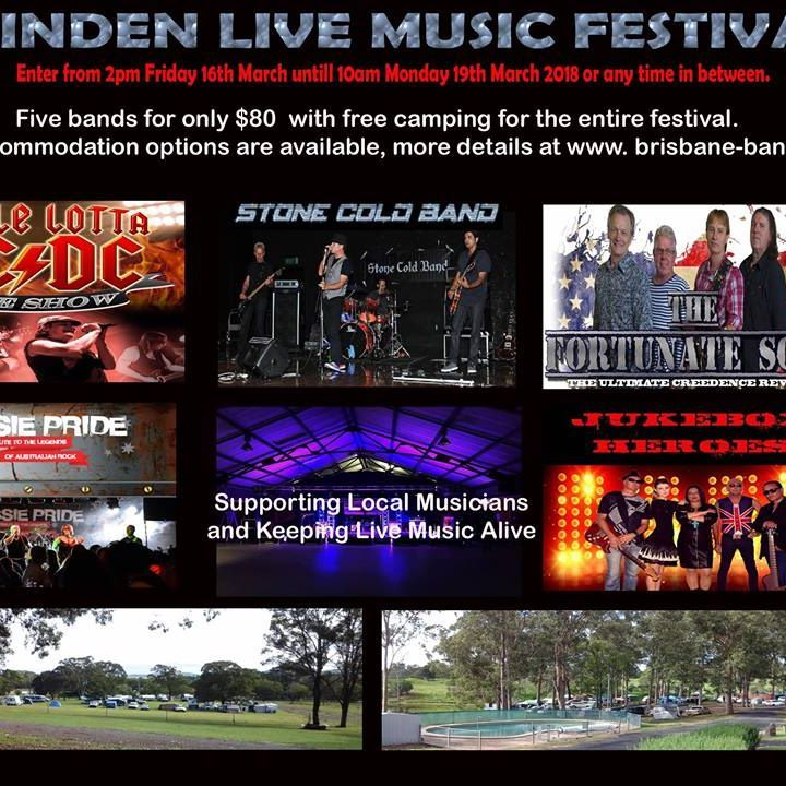 Massive Weekend of Live Music for $80 with free camping other accommodation options available.  The inaugural festival was a complete success , so don't delay these tickets will sell quick.   These festival are unique for they only comprise of tribute and premium cover bands.  Enter from 2pm Friday 16 March until 10am Monday 19 March 2017 or any time in between. Five bands headliners on Friday night  AC/DC Tribute Band  , on Saturday night  Creedence Clearwater Revival (CCR) Tribute Band and…