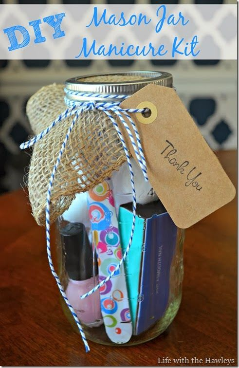 DIY Mason Jar Manicure Kit, hostess gift for bridal shower or baby shower