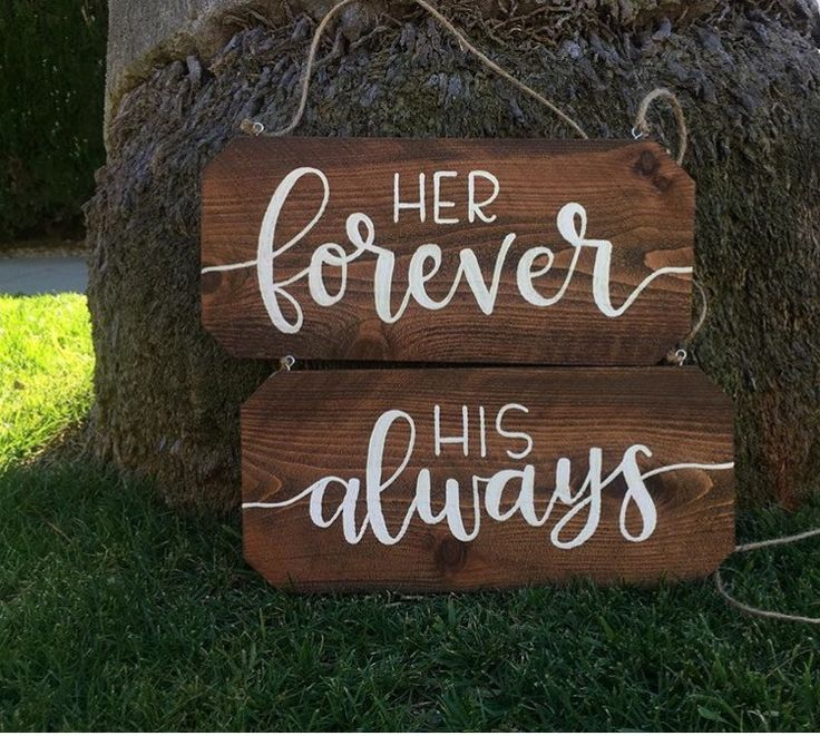 Wedding Chair Signs - Her Forever, His Always Rustic Chair Signs Wooden Rustic Chair Signs