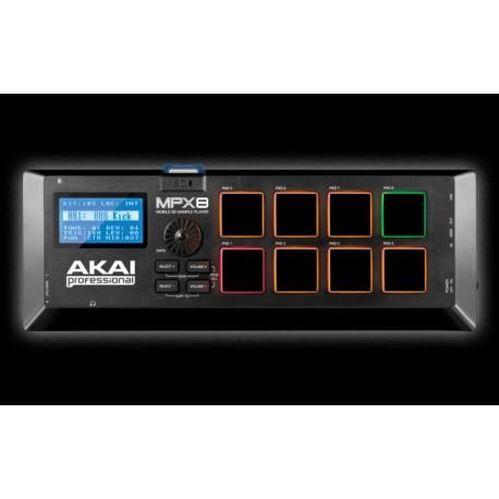 Tecnología Musical - Controladores - AKAIPRO MPX8 - REPRODUCTOR AKAI DE SAMPLES CON 8 PADS: Características :   • 8 Pads sensibles a la velocidad y sensibles a la presión • MIDI USB además de entradas y salidas MIDI estándar • Puede controlar software y equipos MIDI externo • Editor Drag-and-drop de muestra para Mac ® y PC incluido • Editor para convertir instantáneamente muestras a .WAV • Biblioteca incorporada de sonidos y muestras. • Incluye conexión Akai Pro  para descargas de librería.