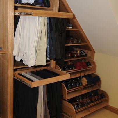 Walk In Closet Organization And Slanted Ceiling For The