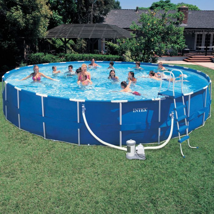 Intex Round Steel Frame Quick Pool 15 Ft X48 In Intex Swimming Pool Pool Filters Swimming Pools