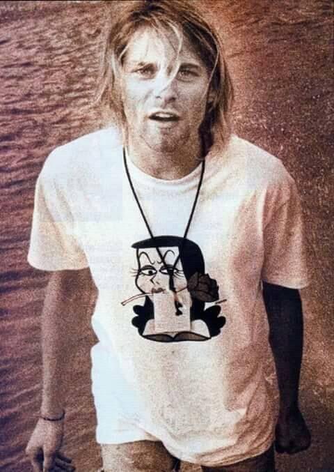 9d86ad0e9 Kurt Cobain wearing a Natasha t-shirt | Celebs Wearing Awesome T ...
