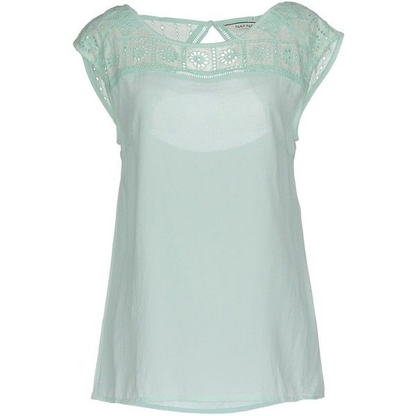 Naf Naf Blouse ($41) ❤ liked on Polyvore featuring tops, blouses, sky blue, green blouse, green top, short-sleeve blouse, sky blue blouse and lacy top