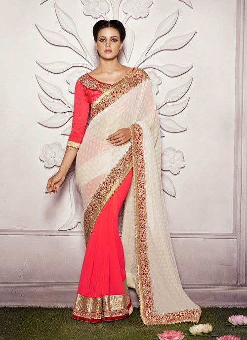 Tranquil Off White & Red Half and Half Saree