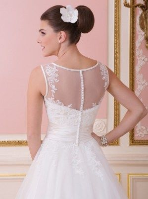 Ball gown wedding attire with illusion neckline and a bodice that is adorned with lace appliques, Sweetheart - 6007