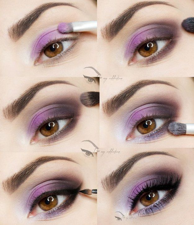 Purple Eye Makeup | Eyeshadow Tutorials for Brown Eyes - | How To Make Eyes Look Sexy And Dramatic by Makeup Tutorials at http://makeuptutorials.com/12-colorful-eyeshadow-tutorials-brown-eyes/