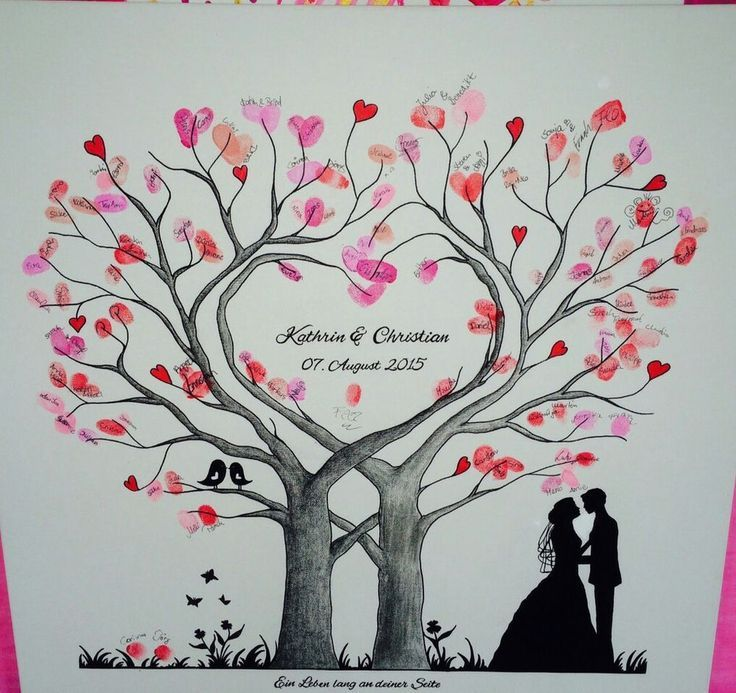 Wedding Tree Heart Fingerprint Tree Wedding Gift Canvas 50×50 / 60x60cm