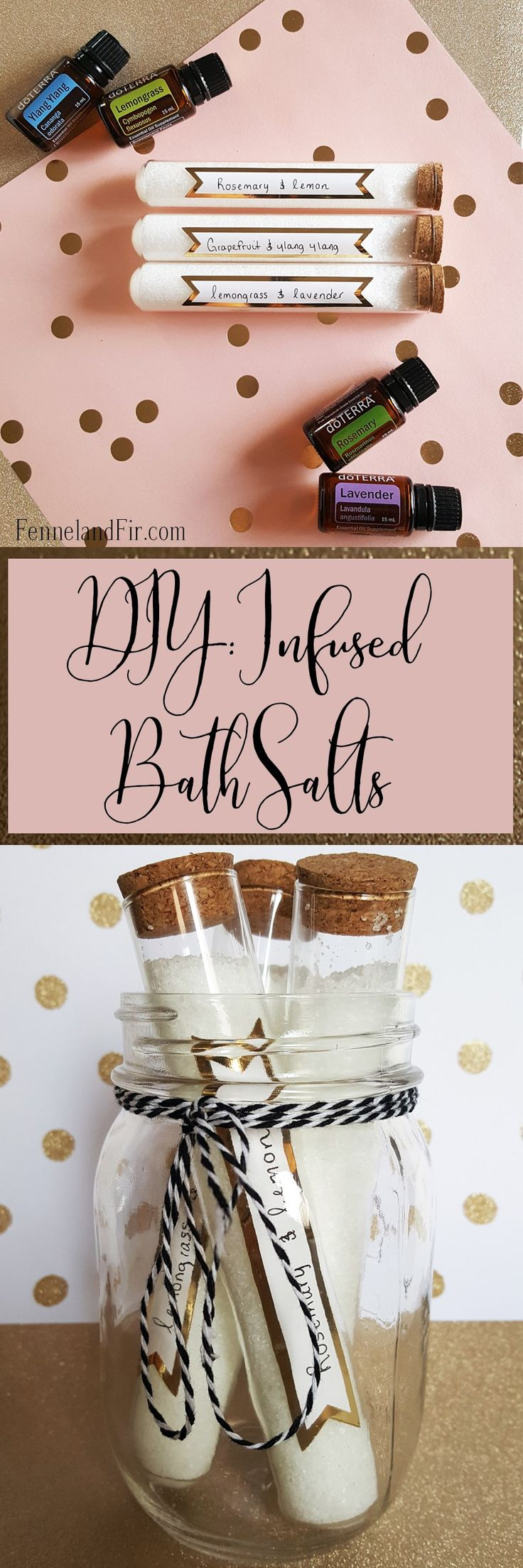 DIY: Infused Bath Salt. Great Last minute holiday gift or diy craft. @fennelandfir