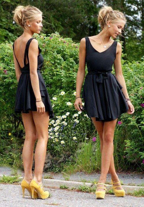 Gorgeous, cute black dress.: Yellow Pumps, Summer Dresses, Backless Dresses, Dresses Shoes, Yellow Shoes, Yellow Heels, Little Black Dresses, The Dresses, Open Back