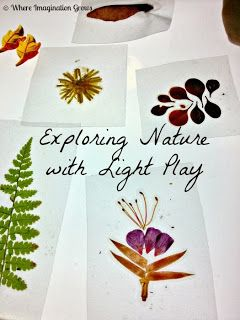 Nature Play DIY Nature slides & Light Table Fun! Contact paper, natural materials, and finish the edges with tape.
