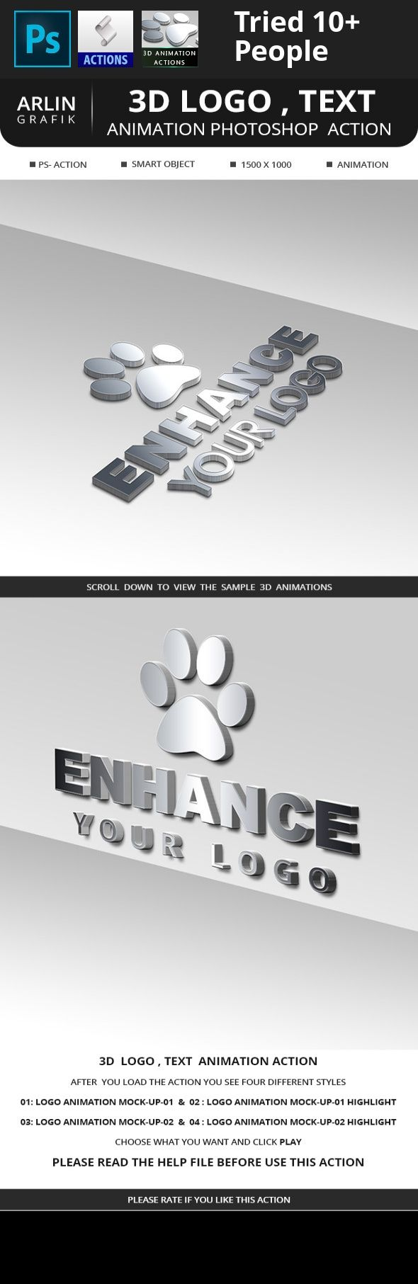 3d, 3d mockup, action, animation, atn, editing, effect, excellent, gif, highlight, logo, logo mockup, metal, mock up, mock-up, mockup, model, movie title, photoshop action, realistic, realistic 3D, rise, steel, stylish, text effect, title, video   3D Logo , Text Animation Photoshop Action  Create high quality  3d Mock-up with Animation .All layers are perfectly named and Group .This action will save your time   Please like my Facebook page for feature  updates    The action is working on…