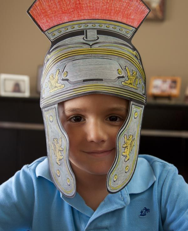 Free downloadable Roman centurion paper helmet craft. Color an image of a centurion's helmet. Cut out the pieces and assemble. While visiting the city of Capernaum, Jesus receives a message from a centurion that his servant is sick. While en route, our Lord receives another message from the centurion that is recited at each and every Mass. http://www.massexplained.com
