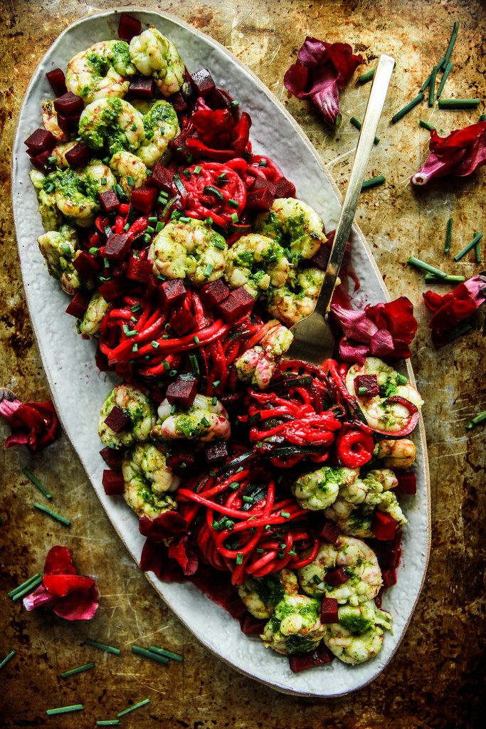 Paleo Beet Pesto Zoodles with Spicy Herb Shrimp from HeatherChristo.com