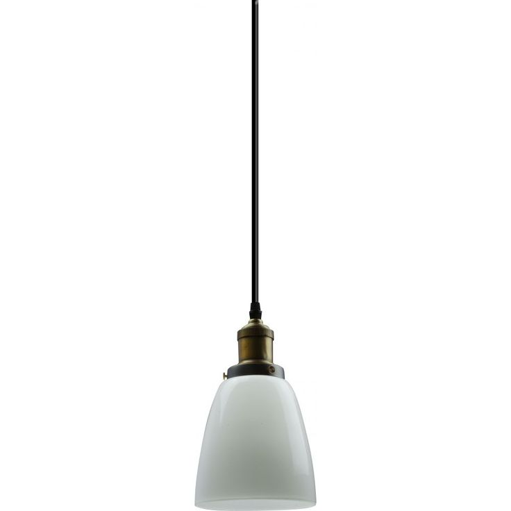 A timeless, elegant piece, the Ava pendant features milk coloured glass supported by an antique brass metal frame, black flex cord and black ceiling canopy. It is sure to add a sense of class to any setting.Cord length: 1400 mm Takes E27 Globe