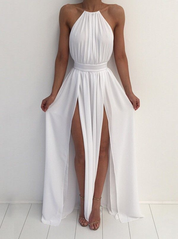 Buy Sexy Halter Long Maxi Slit Dress with Backless Women's Clothing under US$ 43.99 only in SimpleDress.