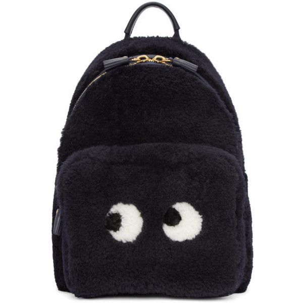 Anya Hindmarch Navy Shearling Mini Eyes Right Backpack ($1,995) ❤ liked on Polyvore featuring bags, backpacks, navy, navy blue backpack, backpack bags, zip bag, mini rucksack and anya hindmarch backpack