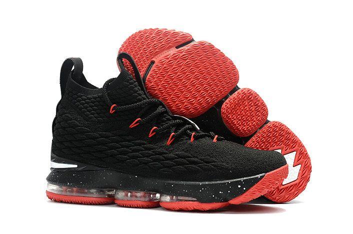 6301d7791ac 2018 New Style Nike LeBron 15 Mens Original Basketball Shoes Sneakers Coal Black  University Red White