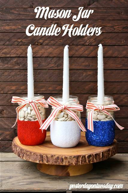 Mason Jar Candle Holders for 4th of July