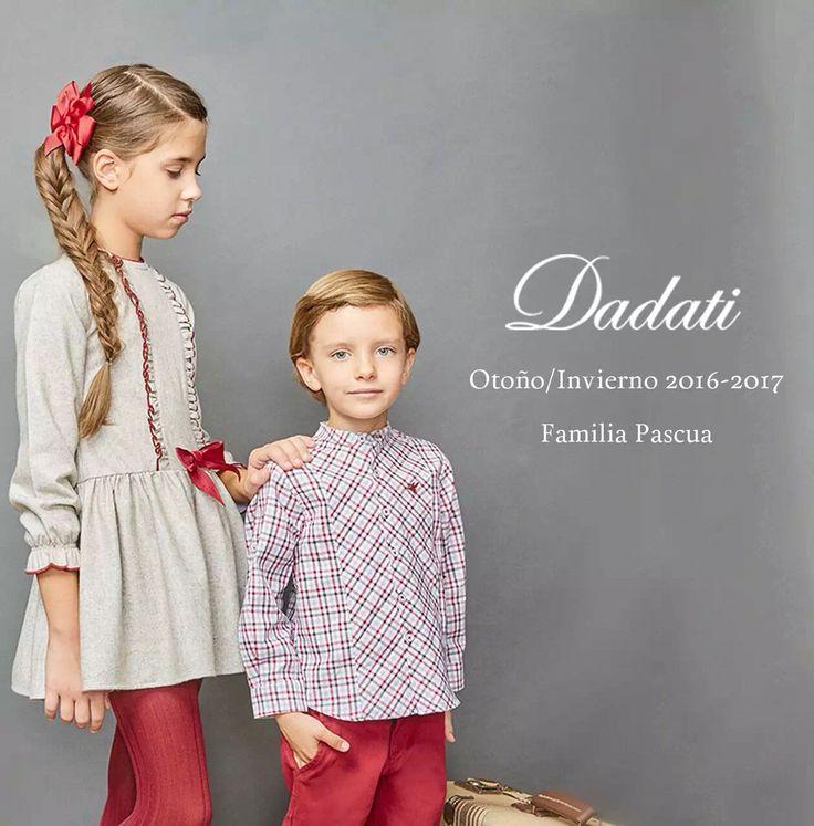 coleccion aw2016 dadati vestido niña gris de lana fría con detalles granate