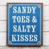 sandy toes & salty kisses metal sign