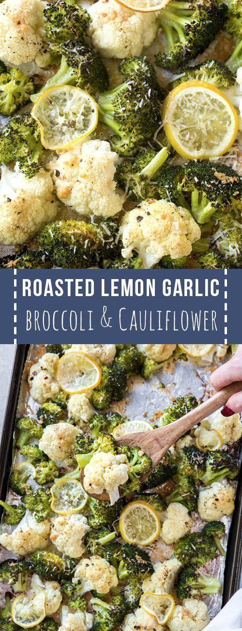 Roasted broccoli and cauliflower with lemon and ga…