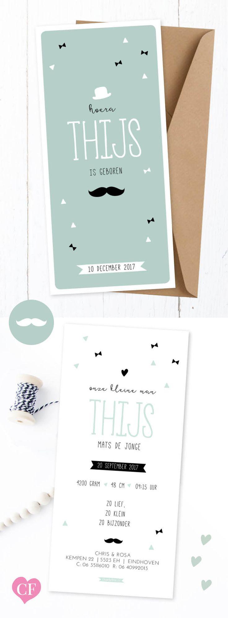 Little moustache geboortekaartje Thijs | stoer retro kaartje met strikjes en snor | geboortekaartje voor jongens | charlyfine.nl