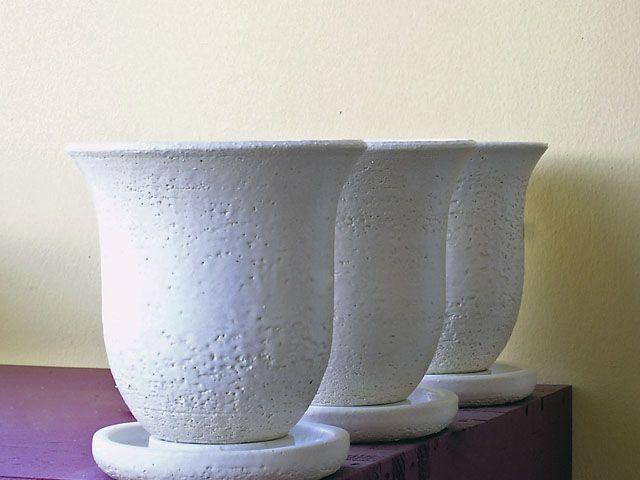 White pots.