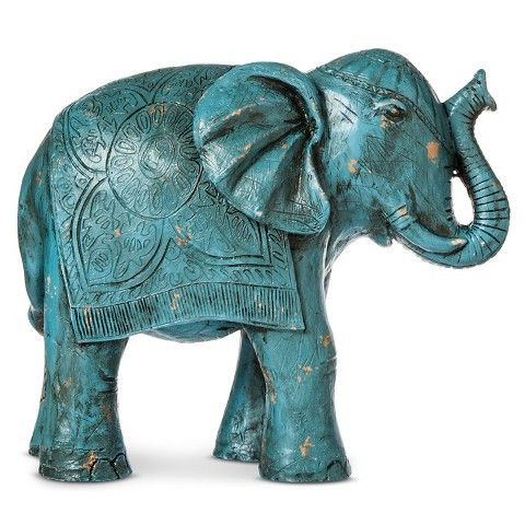 A beautiful hand painted elephant figurine in turquoise/teal. Give your home a bohoflair with this decorative statue. Material: Polyresin Dimensions: 9H x 5.5W
