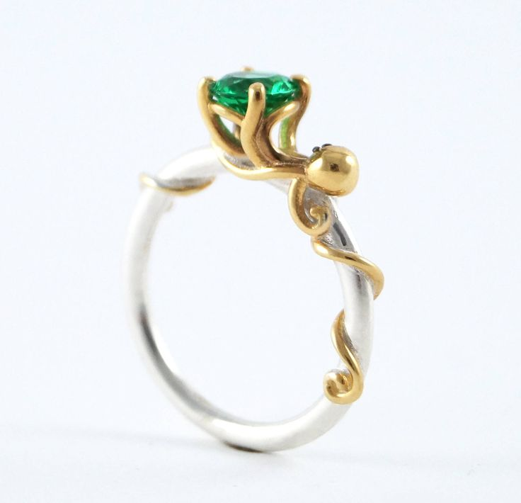 Octopus Joy, Sterling Silver Ocean Octopus Ring, Octopus Engagement, Cephalopod, Silver Kraken Ring, Sea Creature, Emerald Ring, Rickson by RicksonJewellery on Etsy https://www.etsy.com/listing/498504215/octopus-joy-sterling-silver-ocean